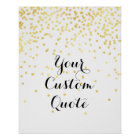 Gold confetti Personalized quote art print custom