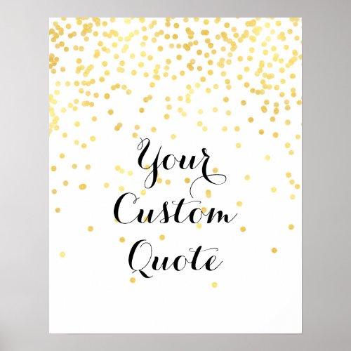 Gold confetti Personalized quote art print custom