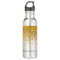 Gold Confetti Personalized Water Bottle