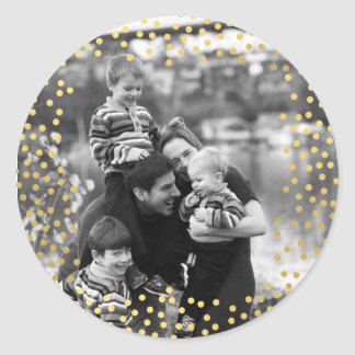 Gold confetti photo template classic round sticker