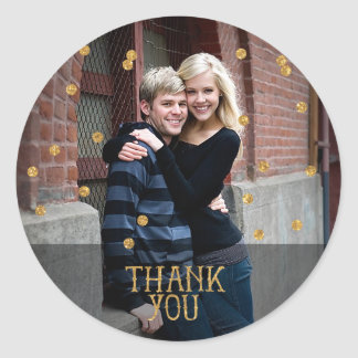 Gold Confetti Photo Thank You Sticker