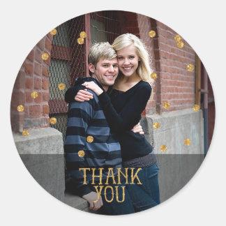 Gold Confetti Photo Thank You Sticker