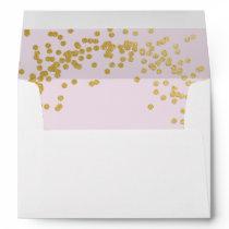 Gold confetti pink envelope