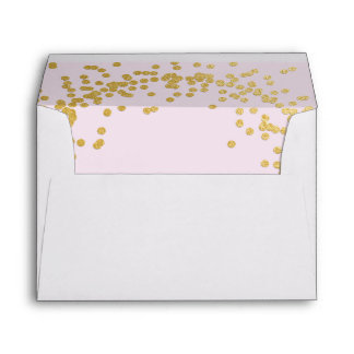 Gold confetti pink envelope