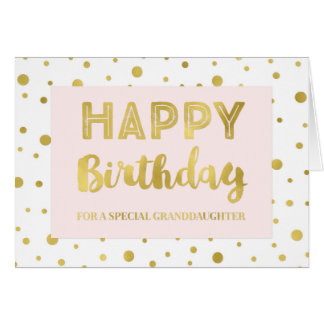Gold Confetti Pink Granddaughter Birthday Card