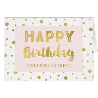 Gold Confetti Pink Niece Birthday Card