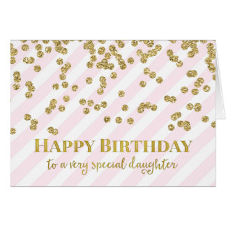 Gold Confetti Pink Stripes Daughter Birthday Card