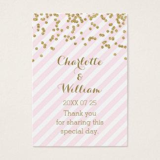 Gold Confetti Pink Stripes Wedding Favor Tags