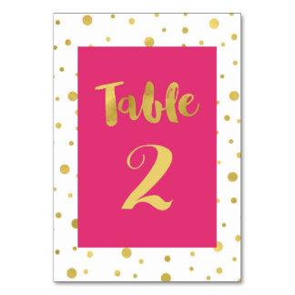 Gold Confetti Pink Wedding Table Number Cards