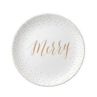 Gold Confetti Plate / Christmas & Thanksgiving