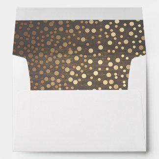 Gold Confetti Rustic Wood Wedding Envelope