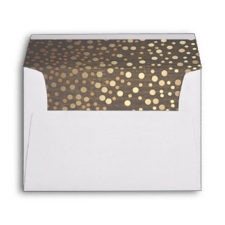 Gold Confetti Rustic Wood Wedding Envelope