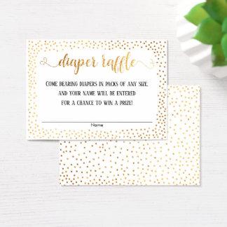 Gold Confetti, Script on White Diaper Raffle Cards