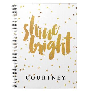 "Gold Confetti ""Shine Bright"" Typography Spiral Notebook"