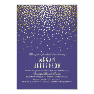 Gold Confetti - Starry Lights Navy Bridal Shower Card