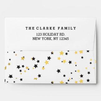 Gold Confetti Stars | Holiday Envelopes