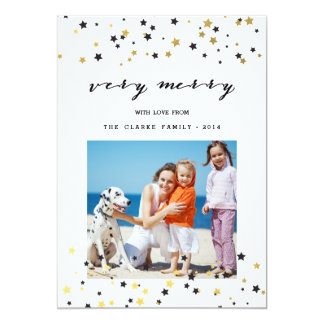 Gold Confetti Stars | Holiday Photo Card Announcement