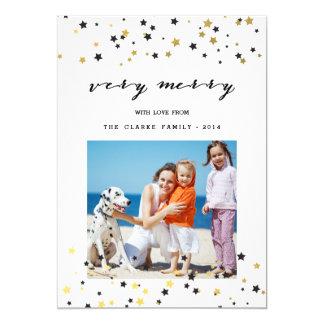 "Gold Confetti Stars   Holiday Photo Card 5"" X 7"" Invitation Card"