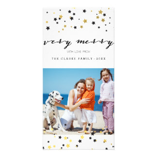 Gold Confetti Stars | Holiday Photo Cards