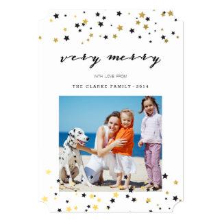 "Gold Confetti Stars   Holiday Photo Cards 5"" X 7"" Invitation Card"
