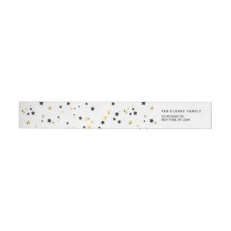 Gold Confetti Stars | Holiday Wraparound Label Wraparound Return Address Label