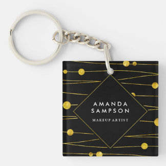 Gold Confetti Strands Makeup Junkie Keychain