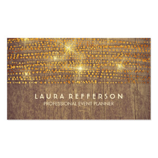 Gold Confetti String Lights Rustic Country Business Card