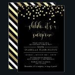 "Gold Confetti Surprise Birthday Party Invitation<br><div class=""desc"">Gold Confetti Surprise Birthday Party Invitation by Eugene Designs. Send these elegant black and gold invitations and start your surprise party with a modern message. On the front, in stylish handwritten style script are the words &quot;shhh.. it&#39;s a surprise&quot; cut out digitally in gold foil. On the reverse, there are...</div>"