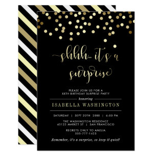 Birthday party invitations zazzle gold confetti surprise birthday party invitation filmwisefo