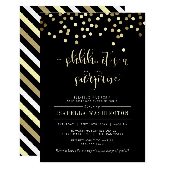 gold confetti surprise birthday party invitation zazzle com