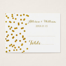 Gold Confetti Table Place Setting Cards at Zazzle