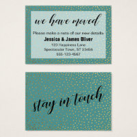 Gold Confetti Teal We Have Moved Handout Card