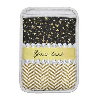 Gold Confetti Triangles Chevrons Diamond Bling iPad Mini Sleeve