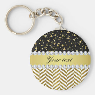 Gold Confetti Triangles Chevrons Diamond Bling Keychain