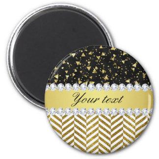 Gold Confetti Triangles Chevrons Diamond Bling Magnet