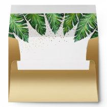 Gold Confetti & Tropical Palm Leaves Wedding Envelope