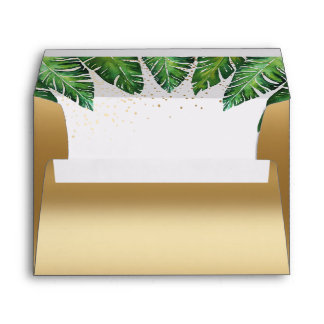 Gold Confetti & Tropical Palm Leaves Wedding Envelope