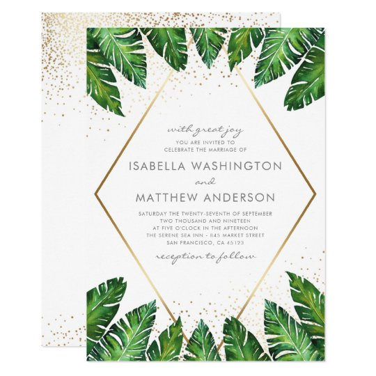 Gold Confetti Tropical Palm Leaves Wedding Invitation