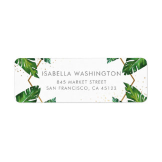 Gold Confetti & Tropical Palm Leaves Wedding Label