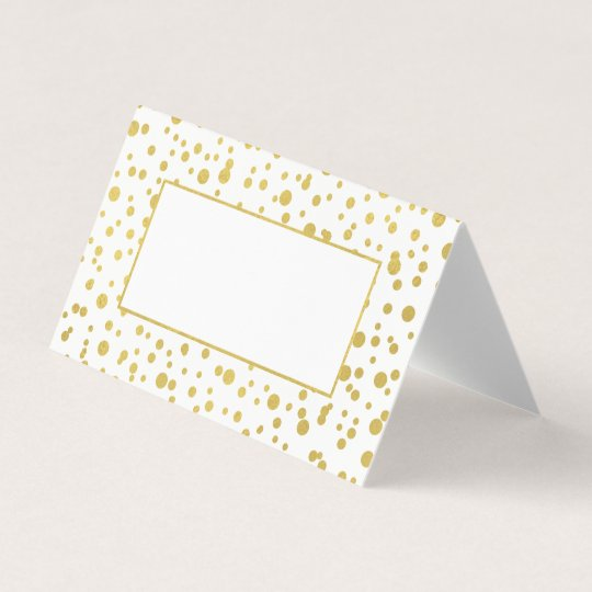 gold confetti wedding folded place cards - Folded Place Cards