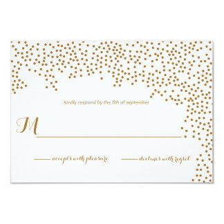 Gold Confetti Wedding Invitation RSVP Card