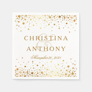Gold Confetti Wedding Personalized Napkin at Zazzle