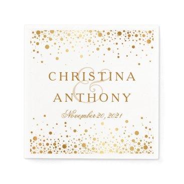 purplepaperinvites Gold Confetti Wedding Personalized Napkin