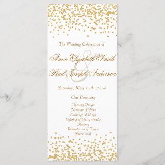 Gold confetti wedding program