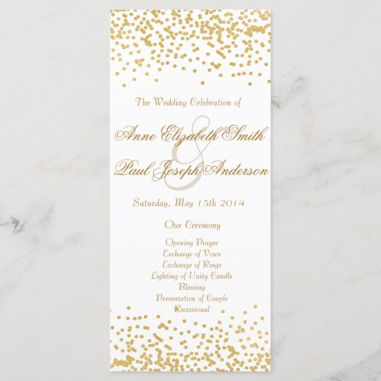 gold confetti wedding program zazzle com