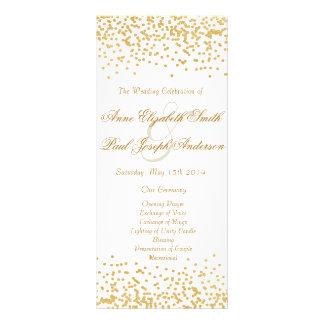 Gold confetti wedding program rack cards