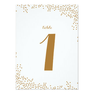 Gold Confetti Wedding Table Numbers Card
