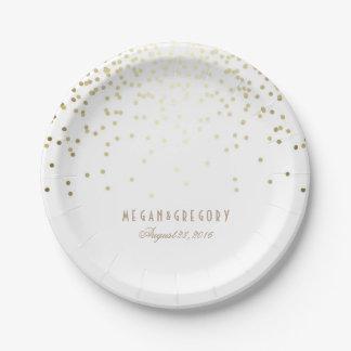 Gold Confetti White Elegant Glitter Wedding Paper Plate