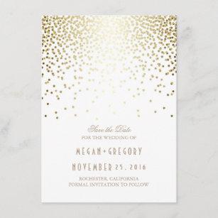 4cffdfda6d Gold Confetti White Elegant Save the Date