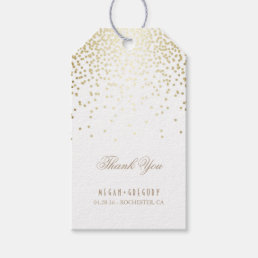 Gold Confetti White Wedding Thank You Gift Tags
